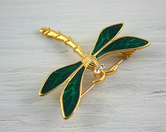 Vintage Trifari brooch gold dragonfly brooch enamel insect jewelry