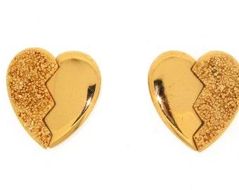 Vintage YSL Heart Earrings Gold Yves Saint Laurent