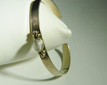 Vintage Sterling Silver Cuff Bracelet With Opal Stone