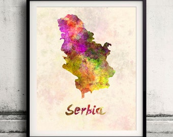 Serbia - Map in watercolor - Fine Art Print Glicee Poster Decor Home Gift Illustration Wall Art Countries Colorful - SKU 1903