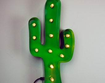 "24"" / 60cm Green Cactus Shape Marquee Light with 10w Bulbs - Light up Cactus - Hand built in the UK"