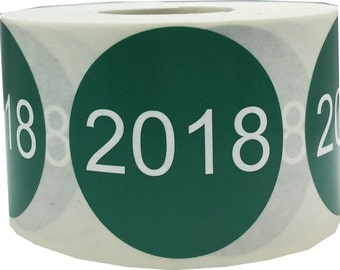 "Year 2018 Year Stickers for Inventory | Large 1.5"" Inch Round Green with White Font 