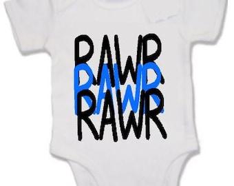 Funny/joke/cute print baby vest - RAWR dinosaur speak
