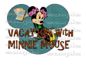 Disney VACATION MINNIE MOUSE  This is an instant digital transfer download file for fabric, etc