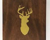 Golden Stag, Wooden Deer Sign, woodburned wallhanging