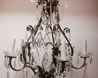 SOLD~Vintage French Crystal Chandelier Huge Crystals