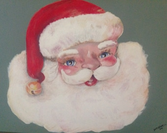 One of a Kind Original Santa Claus Painting on Canvas Artist Signed