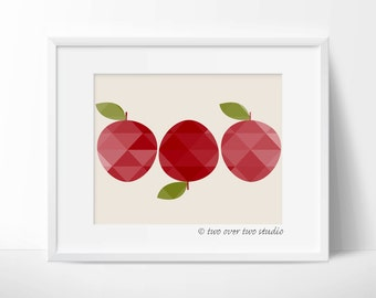"""Apple Printable Art: """"GEOMETRIC APPLES PRINT"""" in Shades of Red for Autumn, Fall Download, Decor"""