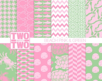 "Pink and Green Digital Paper: ""BEACH PINK & GREEN"" with Turtle, Dolphin, Shark, Starfish,  and Fish Patterns / Beach or Ocean Background"