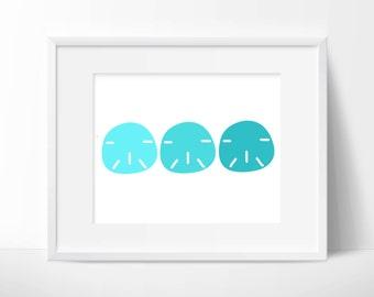 Aqua Sand Dollar Printable Art: Digital Print for Beach or Coastal Decor, Nautical Bathroom, Playroom or Nursery