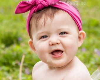 Hot Pink Big Wide Bunny  Headband, Big Bow Knit Band, Shocking Hot Pink Headband For Babies and Toddlers, Soft Newborn Headband, Hairwrap