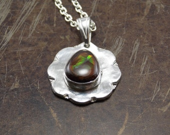 Fine Silver cast necklace with Fire Agate
