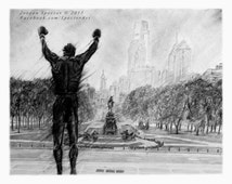 Rocky Balboa - Rocky - Art Print - Black and White - Rocky Decor - Philadelphia Skyline - Creed - Rocky Steps - Philadelphia - Art