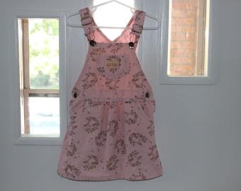 Pink corduroy jumper dress/ overalls dress 4t