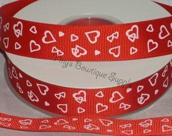 Ready to ship 7/8 Heart ribbon / Valentine Ribbon