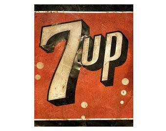 "Vintage Looking  7 Up Sign  (Replica) 8"" x 10"" on Aluminum"
