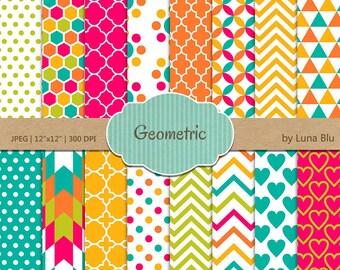 "Geometric Digital Paper: ""Geometric Patterns"" colorful geometric designs, geometric backgrounds,triangles, quatrefoil, honeycomb, chevron"