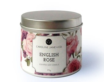 ENGLISH ROSE - Vegan, Soy Wax Candle, Crackling wooden wick, Large Tin