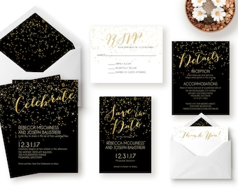 Wedding Invitation Suite / Gatsby / Black and Gold / New Years Eve / Glitter / Printable Wedding Invitation / Save the Date