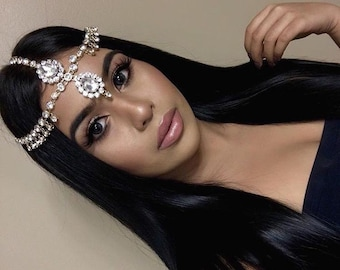 Gold Clear Rhinestone Wedding Bridal Goddess Bohemian Boho Grecian Head Chain Hair Jewelry Head Piece Bollywood Wedding Prom chain