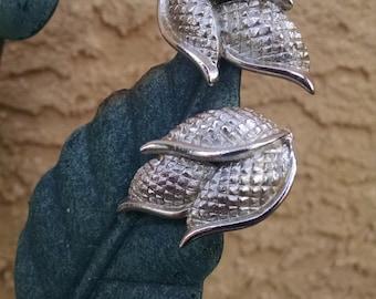 CORO Silvertone Earrings..Elegant Earrings..Clip Back Earrings..Vintage 1950s