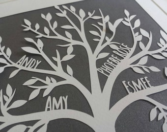 Personalised family tree, custom handmade paper cut