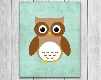 75% OFF SALE - Woodland Nursery Owl Print - 8x10, Wall Art, Nursery Art, Woodland Animals, Nursery Wall Decor, Printable Decor