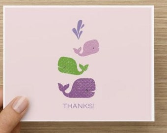 Baby girl thank you card: Baby whale thank you cards for Baby Shower. Packs of 10, 20, or 30.