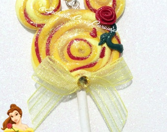 Princess Belle Beauty and The Beast Mickey Head Candy Ears Lollipop Polymer Pendant Necklace
