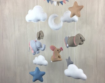 Baby mobile - Elephant family mobile - baby mobiles - baby crib mobile - star mobile - cloud mobile