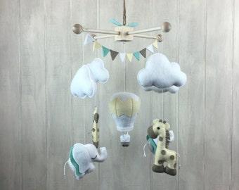 Baby mobile - crib mobile - elephant mobile - giraffe mobile - hot air balloon mobile - nursery mobile - nursery decor