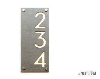 Modern House Numbers Concrete with Beige Acrylic Vertical