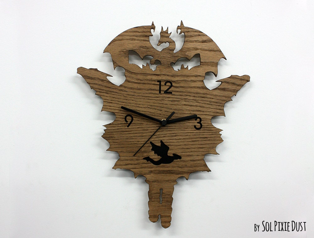 Dragons Modern Cuckoo Clock Wooden Wall Clock