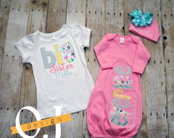 Big Sister Little Sister Personalized Baby Girl Newborn Gift Set - Pink, Aqua and Yellow - Big Sister Shirt, infant gown and Hat with bow
