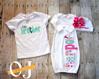 Big Brother Little Sister Personalized Baby Boy Newborn Gift Set- Name Boy Aqua and Hot Pink Infant Gown and Hat Bright Color