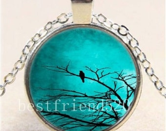 Blue Moon With Bird Cabochon Glass Tibet Silver Chain Pendant Necklace