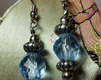 Vintage Style Silver stamped metal and Light Sapphire transparent Faceted Bead Earrings Dangle Charm Pendant Fashion Accessory