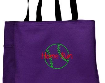 Personalized Tote Bag Embroidered Tote Bag Custom Tote Bag - Sports - Softball/Baseball - B0750