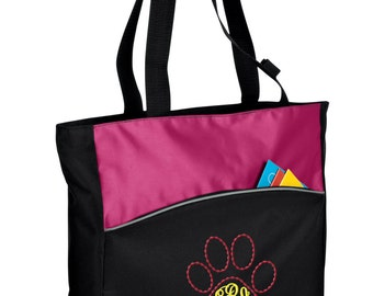 Personalized Tote Bag Embroidered Tote Bag Custom Tote Bag - Sports - Cougar Paw Mascot - B1510