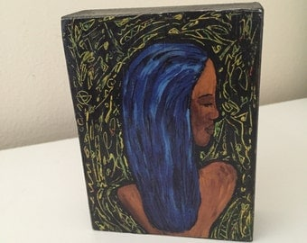 African Art wood block - unique gift. Black Queen, Nubian princess. Acrylic Painting, miniature art.