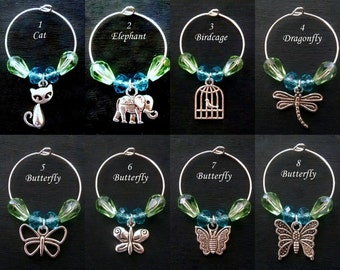 Custom Wine Glass Charms, Design Your Own Set of Wine Glass Tags, Wine Markers, Wine Charms, Hostess Gift, Wedding Favors, Party Favors
