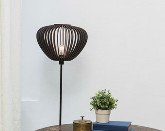 wood lamp shade / dark lampshade / dark lamp shade / dark wood lampshade / black lamp shade / black lampshade / black round lampshade