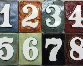 Tile address numbers. Handmade and hand-glazed. Weatherproof, fadeproof.