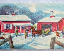 Vintage Christmas Card - Loading Sleigh With Presents - Used for Repurpose