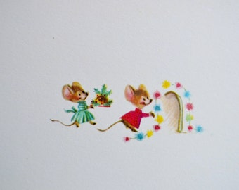 Vintage Christmas Card -  Tiny Mice Decorating Mousehole - Used