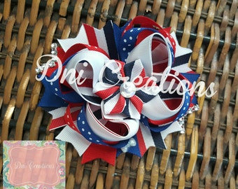 Red,white and blue 4th of july stacked hair bow