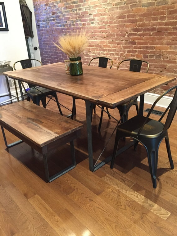 Rustic industrial reclaimed barn wood table with square metal for Rustic iron table legs