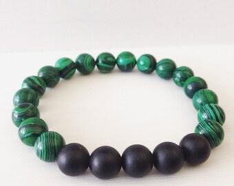 Malachite and Black Onyx Bracelet