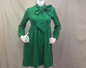 Vintage Green Dress 1960s 60s // Womens Small XSmall Mod Kelly Green Oversized Bow