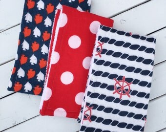 Mini Maritime Burp Cloth Set of Three - (nautical burp rag, terry cloth, flannel, boy, girl, gender neutral, red, blue, navy, fish, ocean)